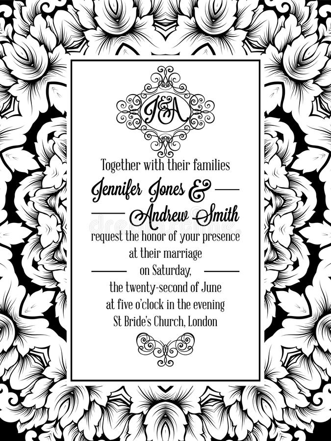 Projeto do teste padrão do damasco para o convite do casamento em preto e branco Quadro real de brocado e monograma excelente ilustração do vetor