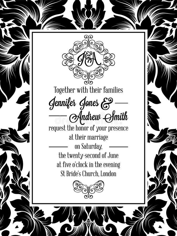 Projeto do teste padrão do damasco para o convite do casamento em preto e branco Quadro real de brocado e monograma excelente ilustração stock