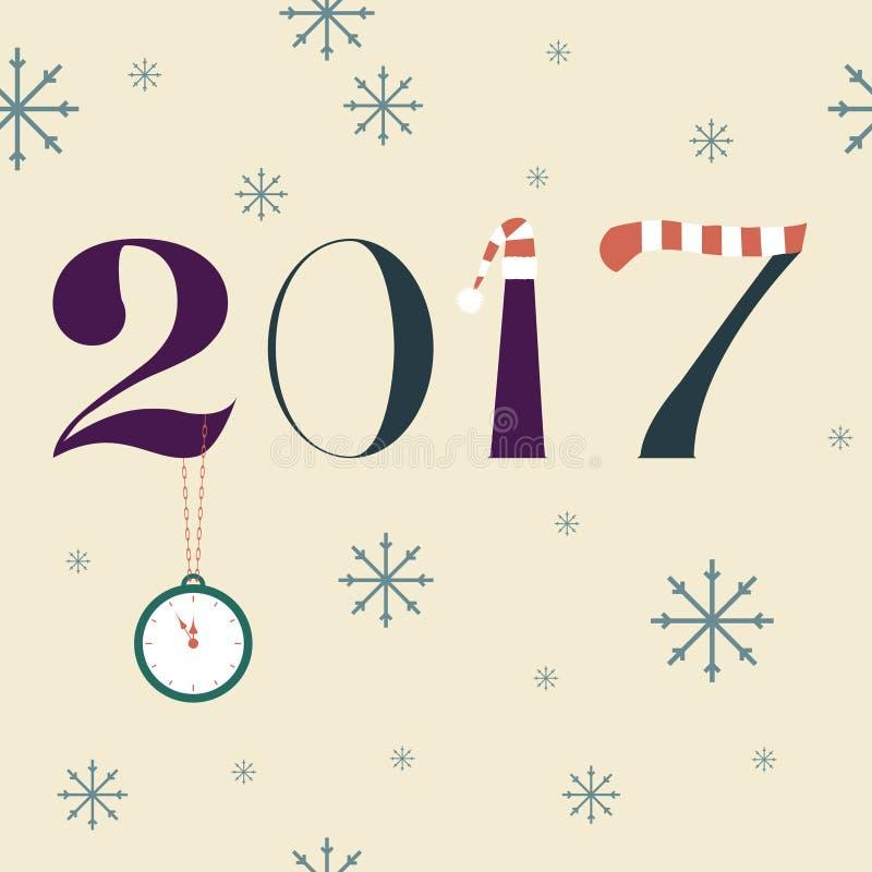 Projeto do texto do ano novo 2017 ilustração royalty free