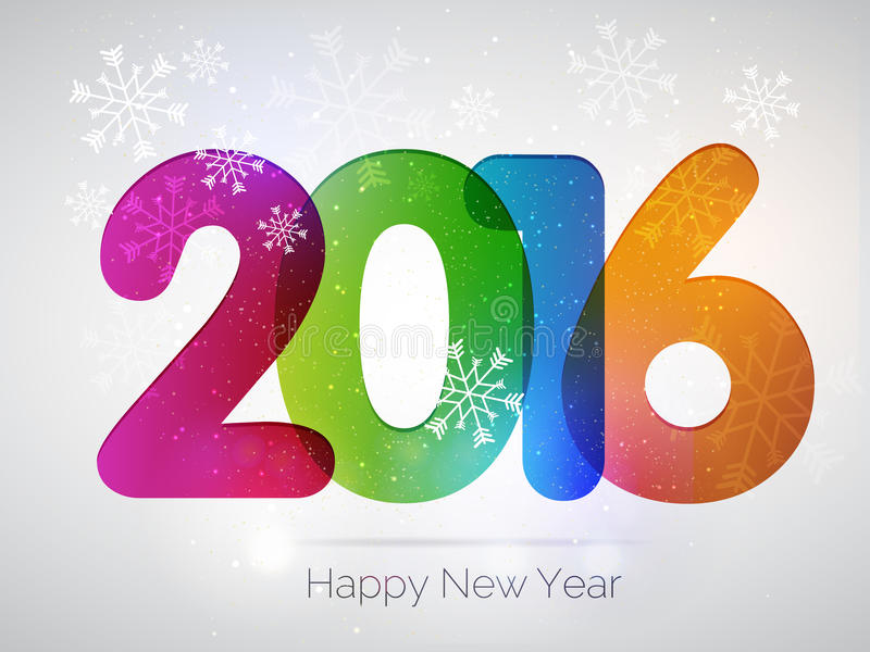 Projeto do texto do ano novo feliz 2016 imagens de stock royalty free