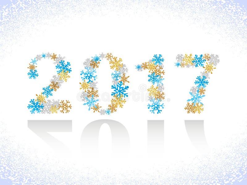 Projeto do texto do ano novo feliz 2017 Números dos flocos de neve ilustração royalty free