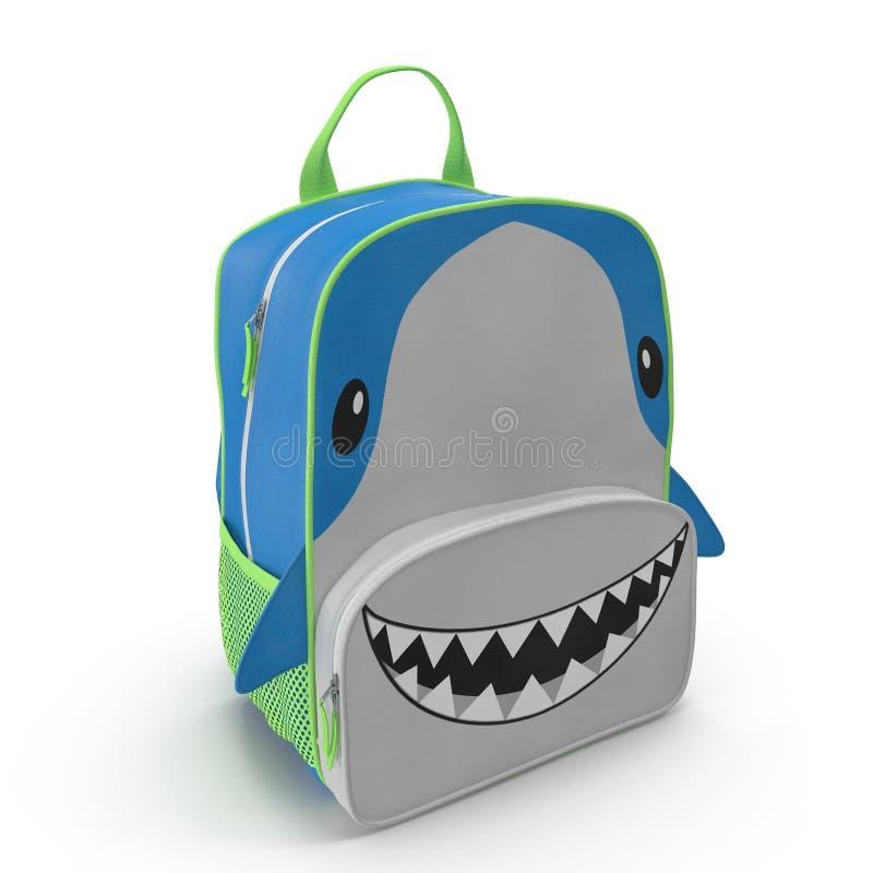 Projeto do tubarão da trouxa do ` s da criança em um branco ilustração 3D ilustração stock