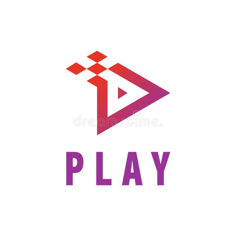 Projeto do vídeo do ícone do jogo e do botão da aplicação da música Molde criativo Logo Vetora Illustration ilustração stock