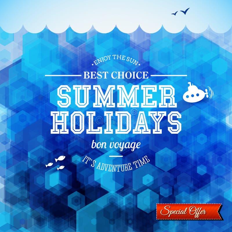 Projeto do verão. Cartaz por férias de verão. Fundo do hexágono ilustração do vetor
