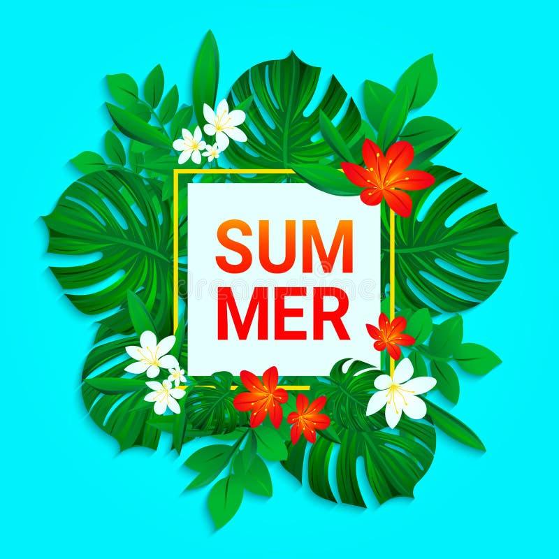 Projeto do verão Fundo tropical das flores e das folhas A selva exótica do vetor planta o cartão Contexto fresco da natureza na ilustração do vetor