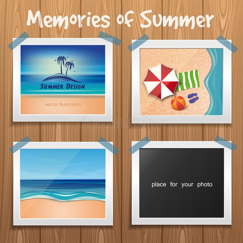 Projeto do verão Placa de madeira com fotos do verão ilustração do vetor