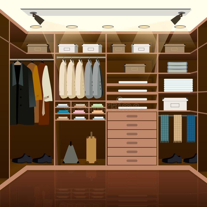 Projeto do vestuario dos homens Mudança ou espera doméstica interna ilustração stock