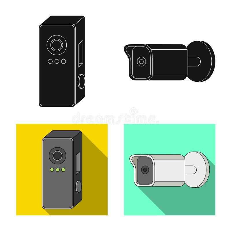 Projeto do vetor do ícone do cctv e da câmera Grupo da ilustração conservada em estoque do vetor do cctv e do sistema ilustração do vetor