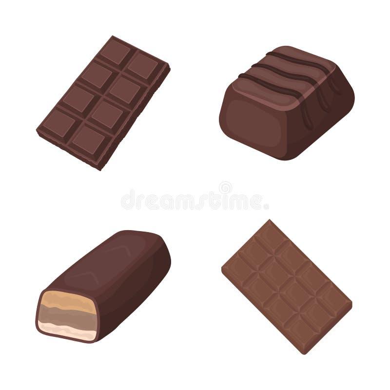 Projeto do vetor do ícone do chocolate e do sabor Ajuste do símbolo de ações do chocolate e do pedaço para a Web ilustração stock