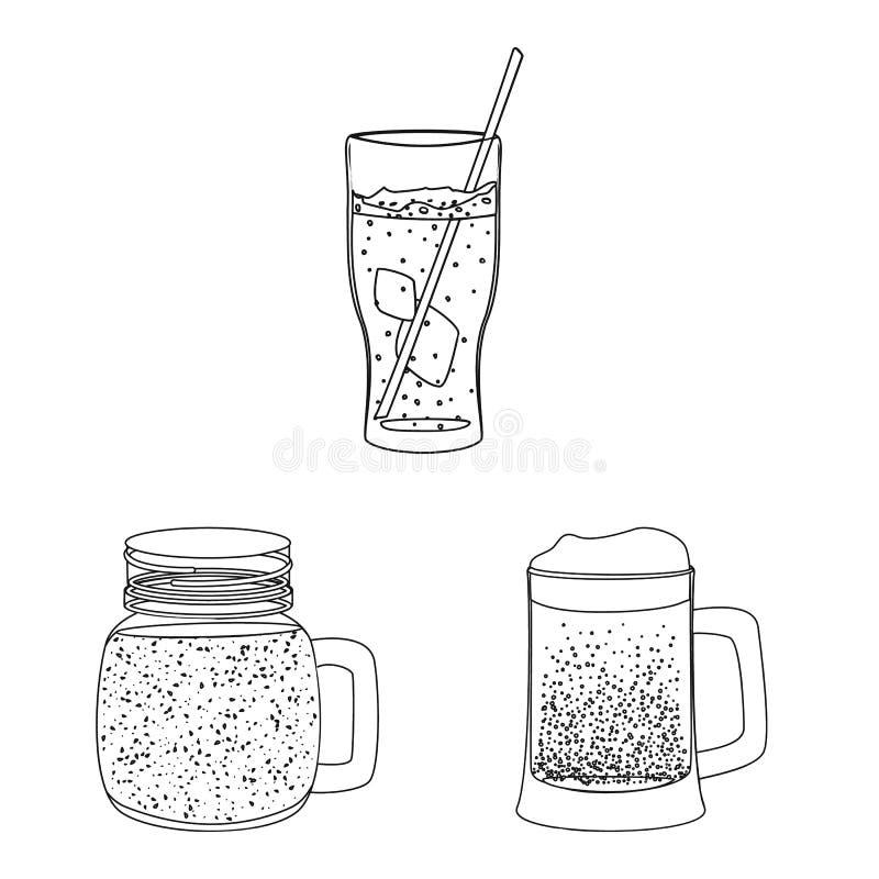 Projeto do vetor do ícone da bebida e da barra Grupo da ilustração conservada em estoque do vetor da bebida e do partido ilustração stock