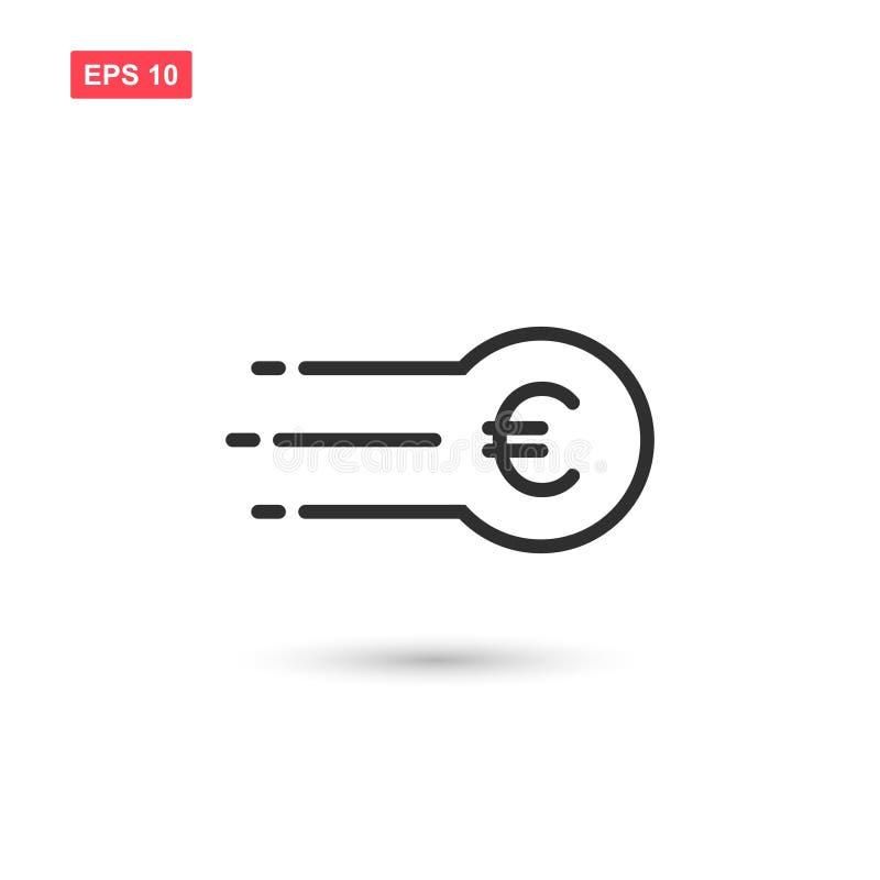 projeto do vetor do ícone da moeda rápida o euro- isolou-se ilustração royalty free