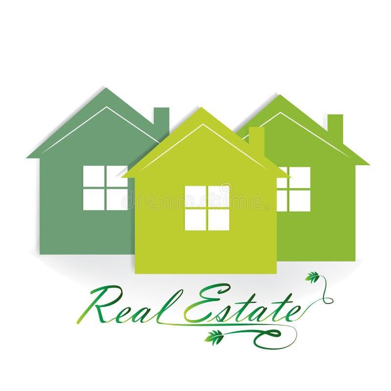 Projeto do vetor do ícone dos bens imobiliários de casa verde do logotipo ilustração royalty free
