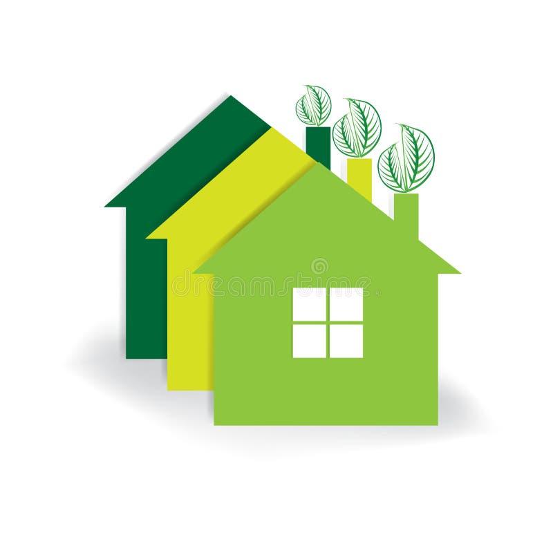 Projeto do vetor do ícone dos bens imobiliários de casa verde do logotipo ilustração stock