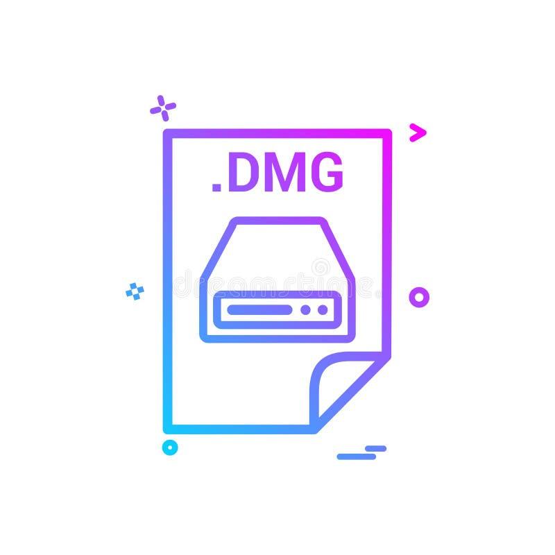 projeto do vetor do ícone do formato de arquivos do arquivo da transferência da aplicação do dmg ilustração do vetor