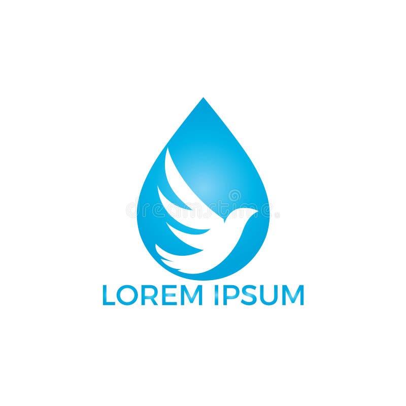 Projeto do vetor do ícone do logotipo da gota da água do pássaro ilustração stock