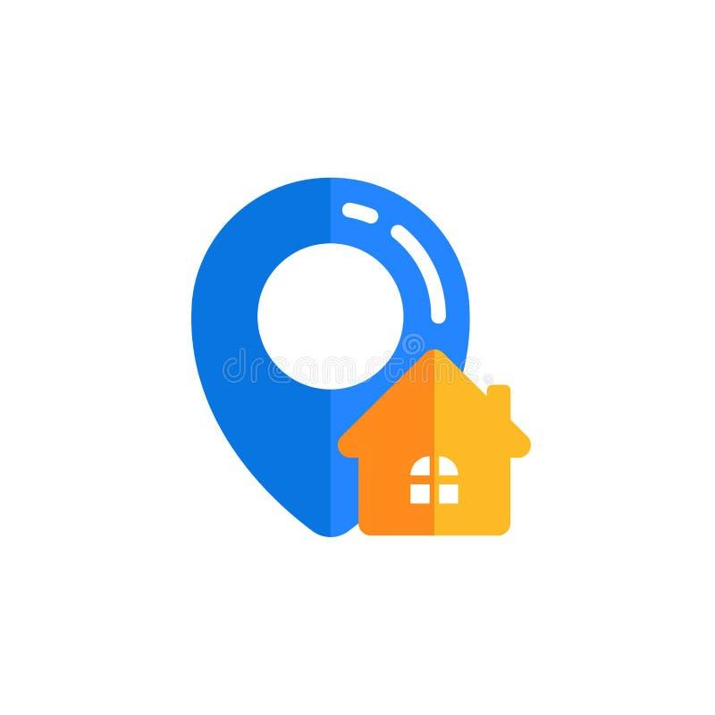 projeto do vetor do ícone do lugar de casa do pino projeto do símbolo do sinal do mapa do pino ilustração royalty free