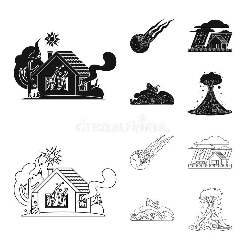 Projeto do vetor do ícone natural e do desastre Coleção da ilustração conservada em estoque natural e do risco do vetor ilustração do vetor