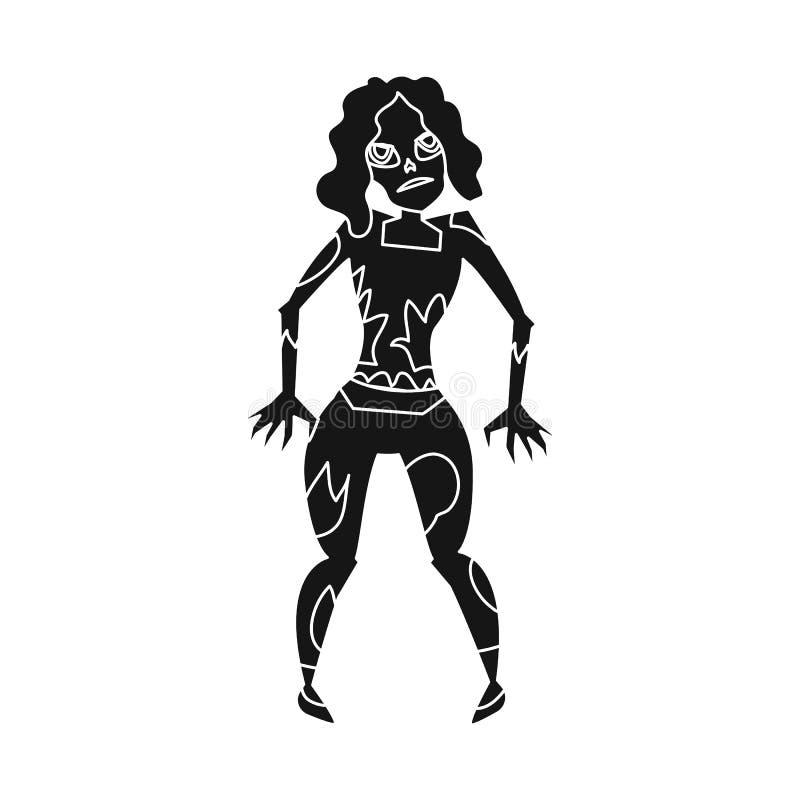 Projeto do vetor do ícone do zombi e da mulher Coleção do símbolo de ações do zombi e do cadáver para a Web ilustração do vetor