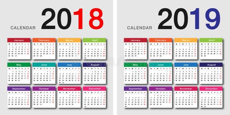 Projeto do vetor do calendário do ano 2018 e do ano 2019 ilustração do vetor