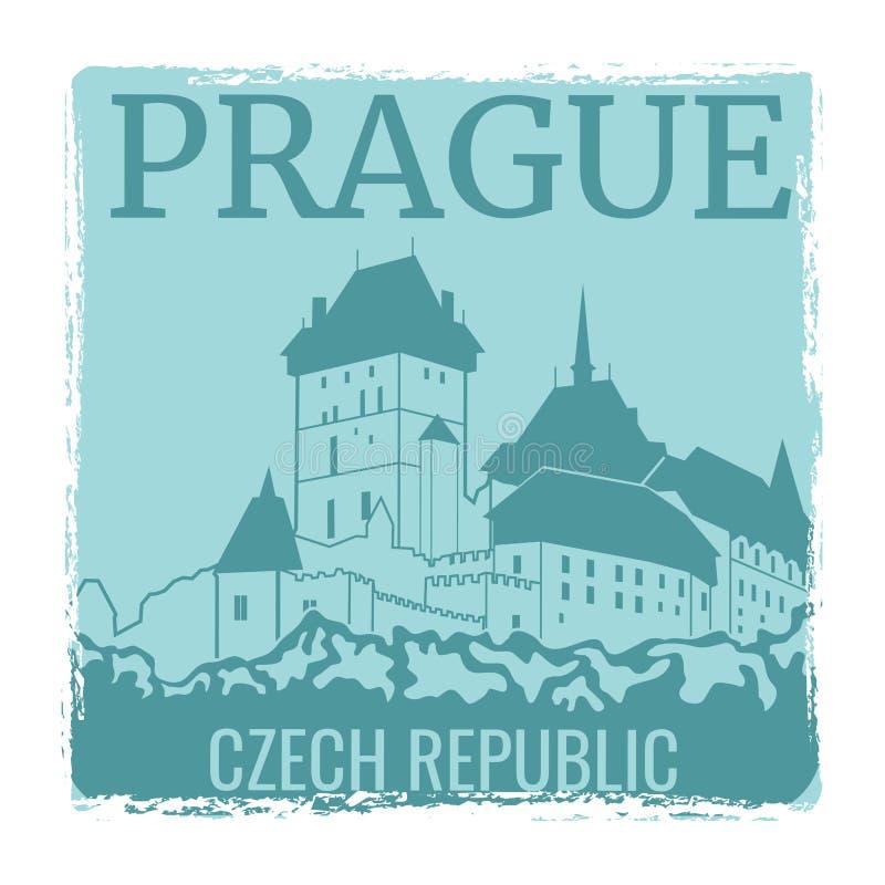 Projeto do vetor do cartaz do curso de Praga com silhueta do castelo ilustração royalty free
