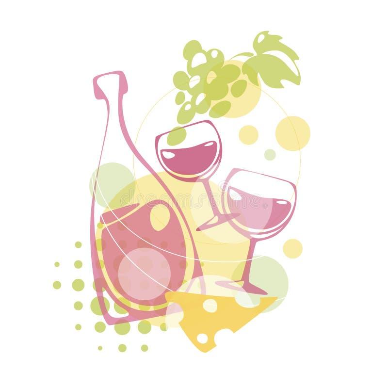 Projeto do vetor com elementos do vinho ilustração do vetor