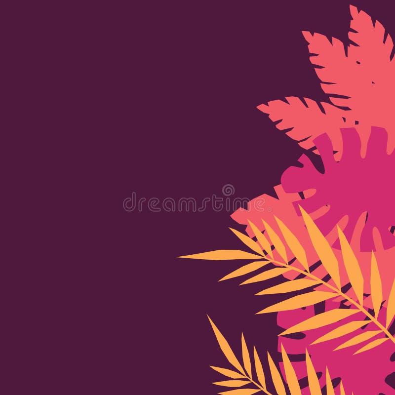 Projeto do vetor com o monstera e as folhas amarelos, cor-de-rosa da selva Molde moderno para o papel de parede, convites, cópias ilustração do vetor
