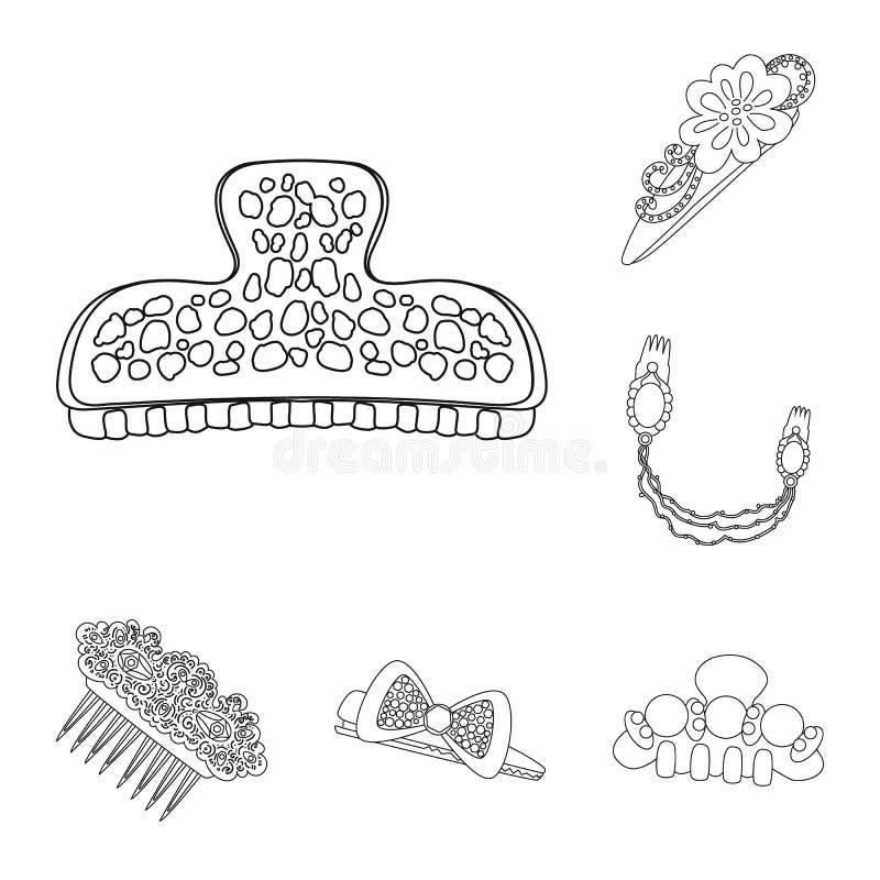 Projeto do vetor do ?cone do cabeleireiro e do hairclip Ajuste do cabeleireiro e da ilustra??o conservada em estoque do vetor dos ilustração do vetor
