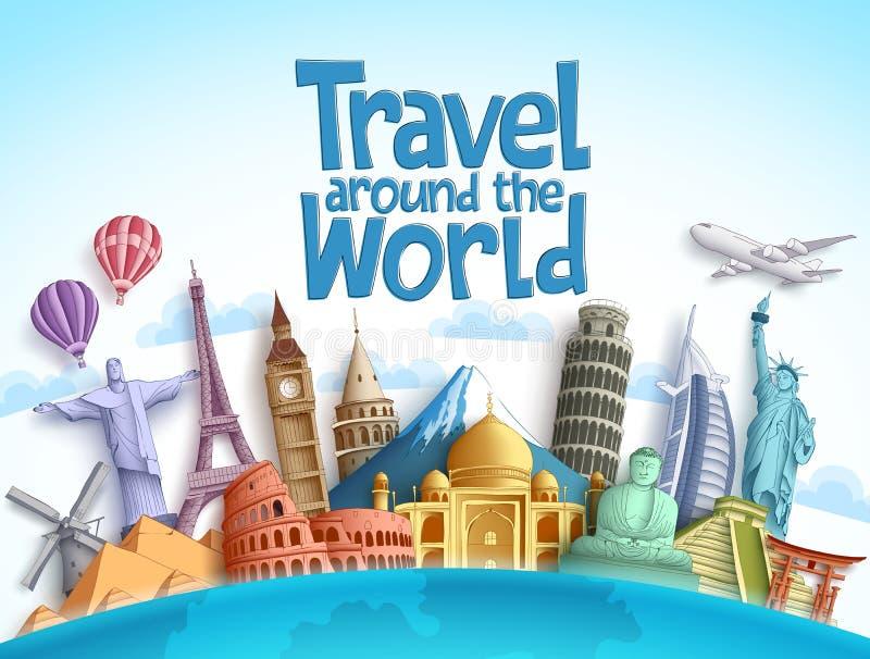 Projeto do vetor do curso em todo o mundo com marcos e o destino famosos do turista ilustração stock