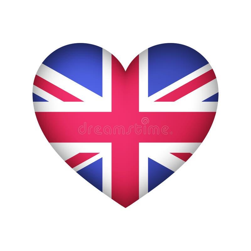 Projeto do vetor da bandeira da forma do coração de Reino Unido ilustração royalty free