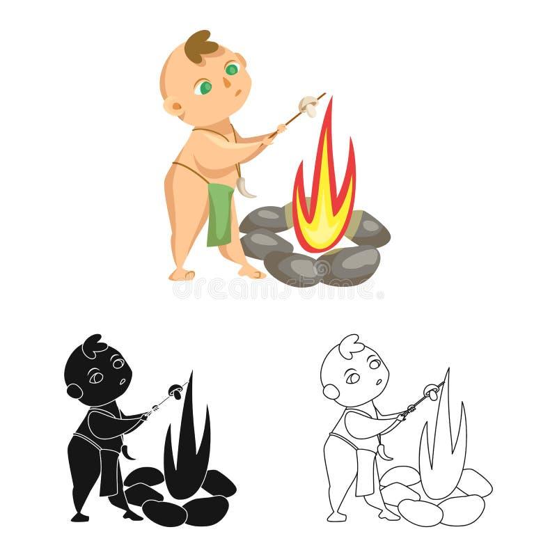 Projeto do vetor da criança e do logotipo pré-histórico Ajuste do ícone do vetor da criança e das pedras para o estoque ilustração do vetor