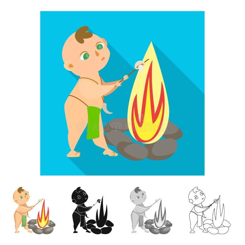 Projeto do vetor da criança e do logotipo pré-histórico Ajuste do ícone do vetor da criança e das pedras para o estoque ilustração stock