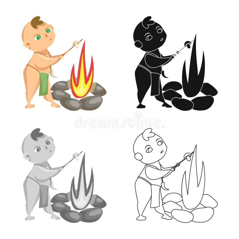 Projeto do vetor da criança e do logotipo pré-histórico Ajuste do símbolo de ações da criança e das pedras para a Web ilustração do vetor