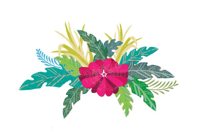 Projeto do vetor da ilustração da folha e da flor imagem de stock royalty free