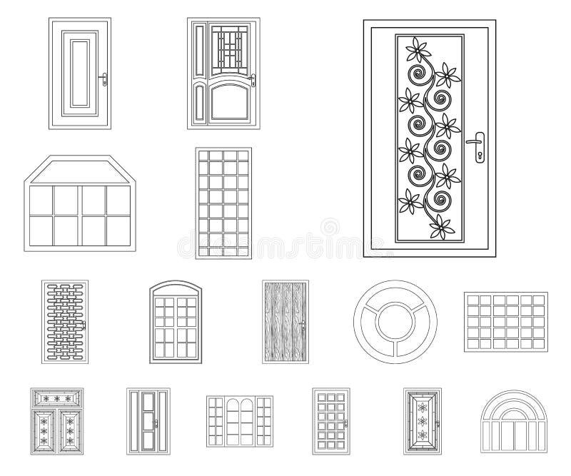 Projeto do vetor da porta e do ícone dianteiro Grupo de porta e de ilustração conservada em estoque de madeira do vetor ilustração do vetor
