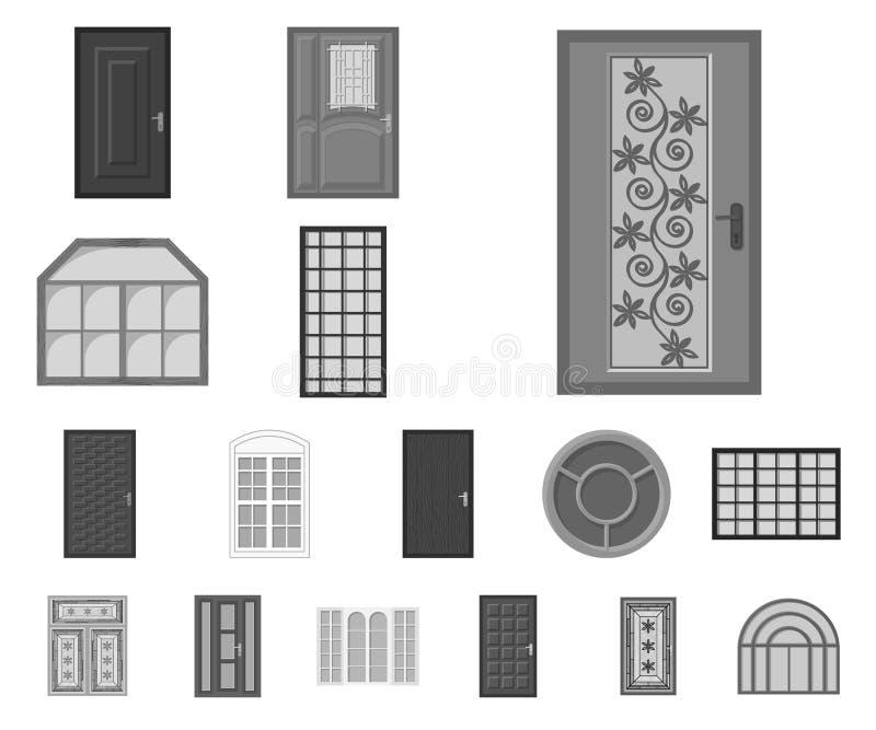 Projeto do vetor da porta e do logotipo dianteiro Coleção da porta e da ilustração conservada em estoque de madeira do vetor ilustração do vetor