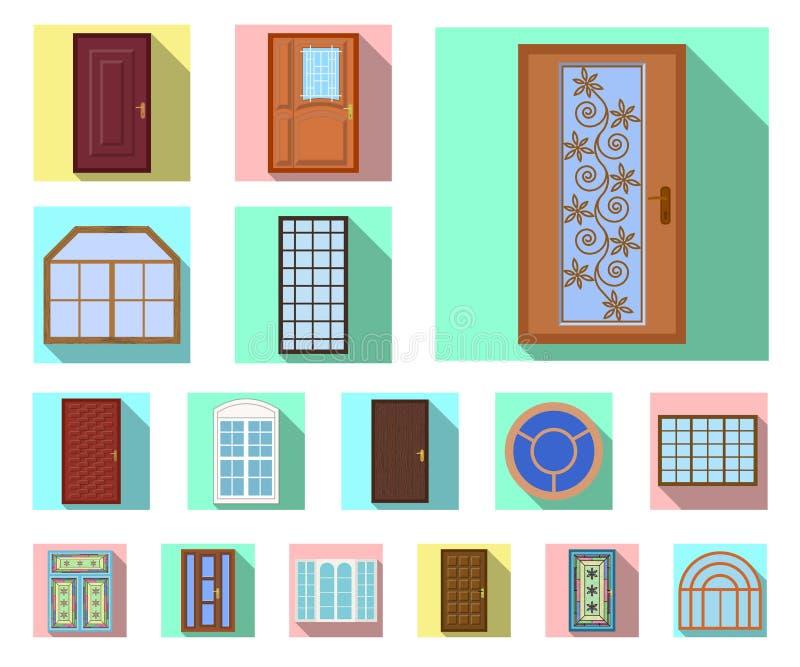 Projeto do vetor da porta e do sinal dianteiro Grupo de porta e de ilustração conservada em estoque de madeira do vetor ilustração royalty free