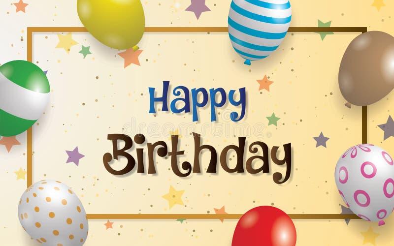 Projeto do vetor da tipografia do feliz aniversario para cartões e cartaz com balão ilustração royalty free