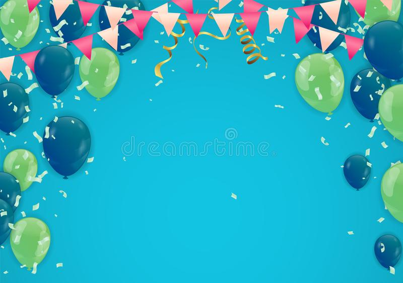 Projeto do vetor da tipografia do feliz aniversario para cartões e p ilustração do vetor