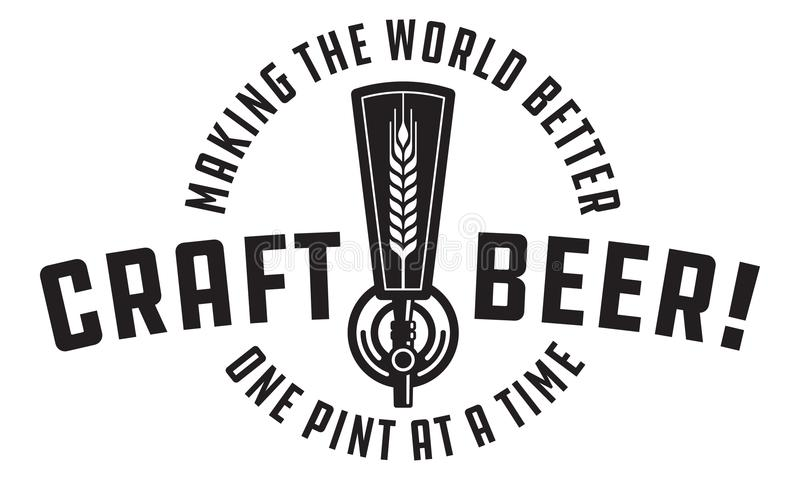 Projeto do vetor da torneira do esboço da cerveja do ofício ilustração stock