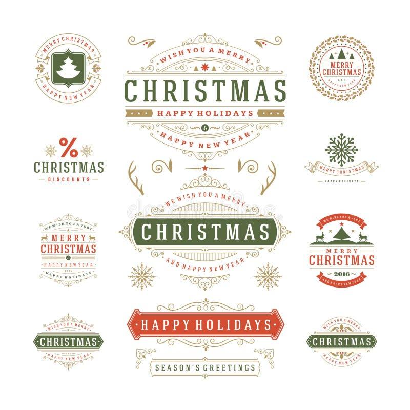 Projeto do vetor das etiquetas e dos crachás do Natal ilustração do vetor