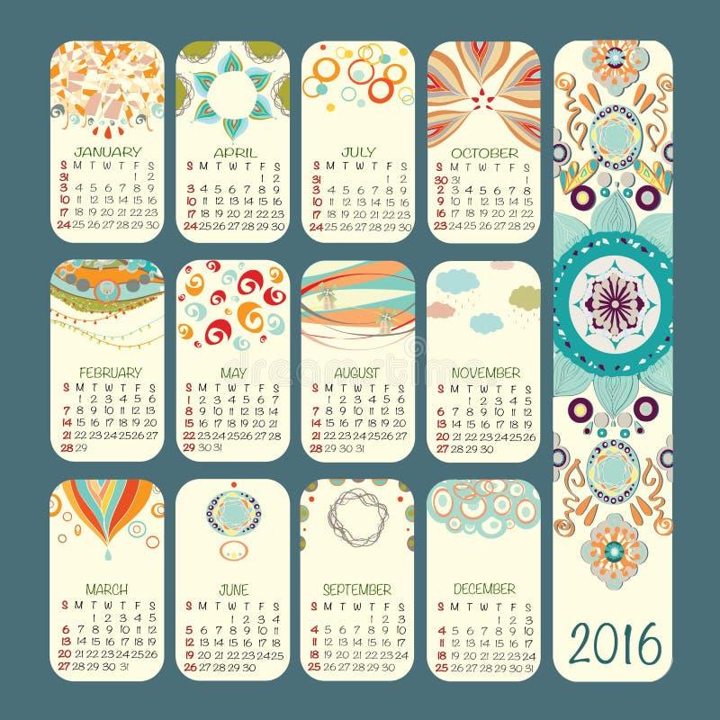 Projeto do vetor do calendário 2016 A semana começa domingo ilustração stock