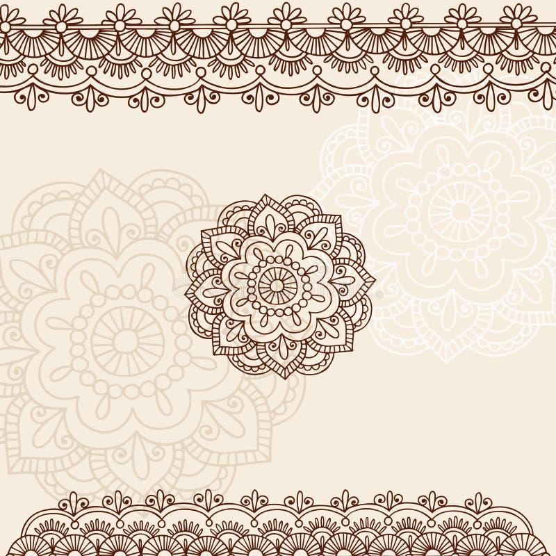Projeto do vetor do Doodle de Mehndi Paisley do Henna ilustração royalty free