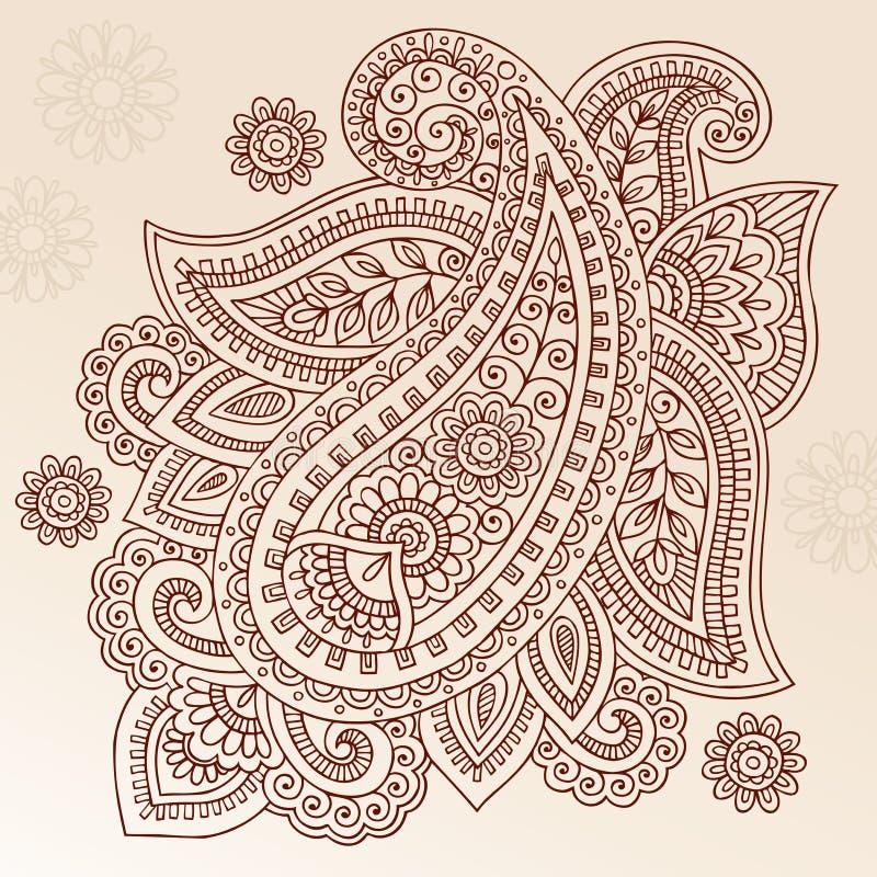 Projeto do vetor do Doodle de Paisley da flor do tatuagem do Henna ilustração stock