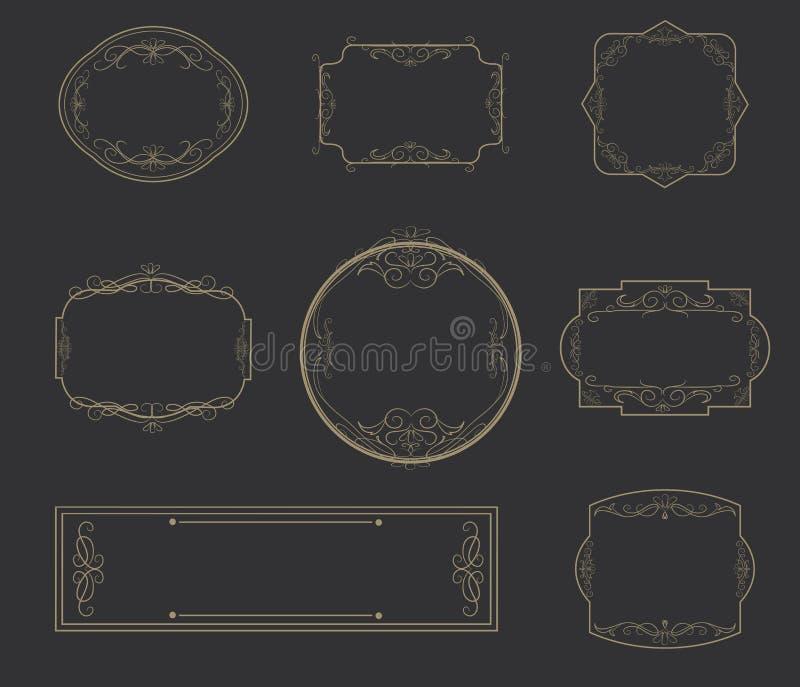 Projeto do vetor do elemento do vintage dos quadros do clássico ilustração do vetor