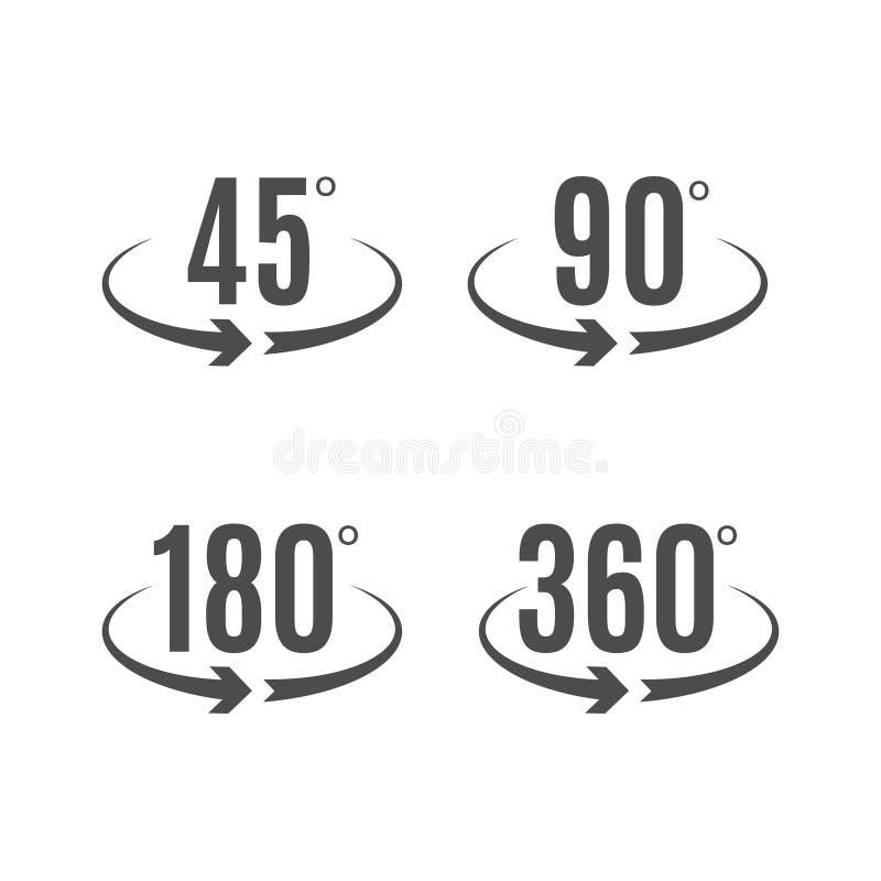 Projeto do vetor dos ícones dos graus do ângulo Símbolo do círculo da rotação das setas Medida da geometria ilustração royalty free