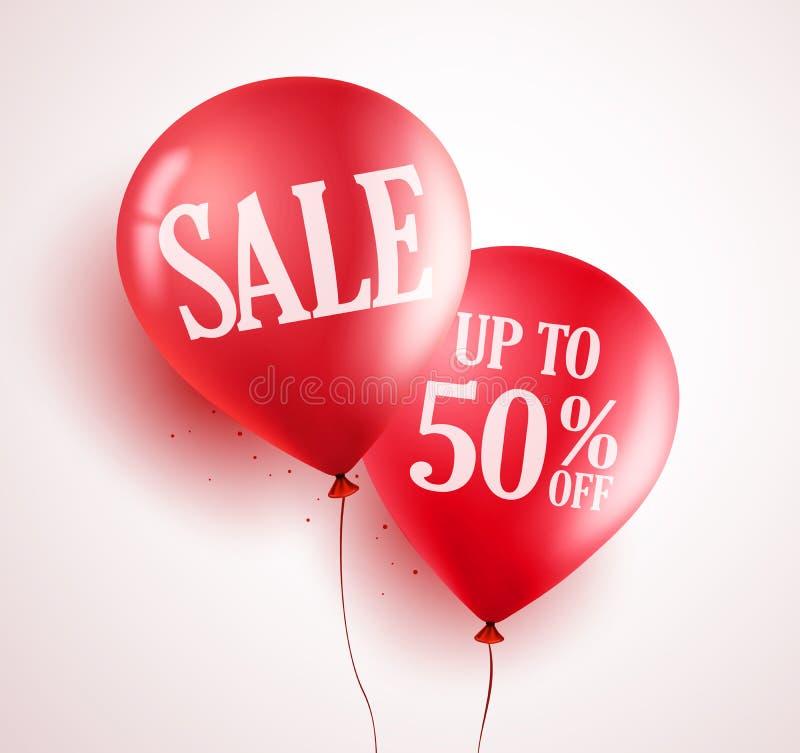 Projeto do vetor dos balões da venda com o 50% fora da cor vermelha no fundo branco ilustração stock