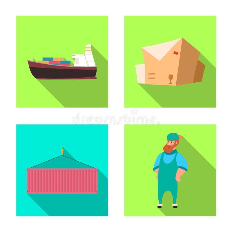 Projeto do vetor dos bens e do ícone da carga Grupo de bens e da ilustração conservada em estoque do vetor do armazém ilustração stock