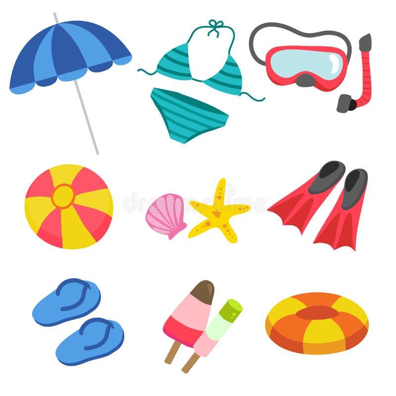 Projeto do vetor dos brinquedos da praia ilustração royalty free