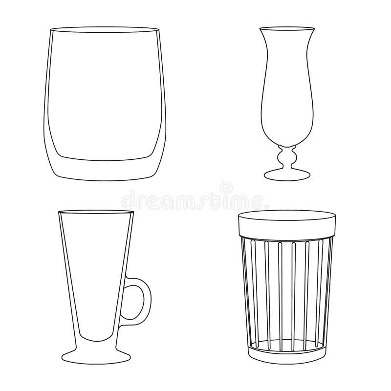 Projeto do vetor dos pratos e do sinal do recipiente Cole??o dos pratos e ?cone do vetor dos produtos vidreiros para o estoque ilustração royalty free