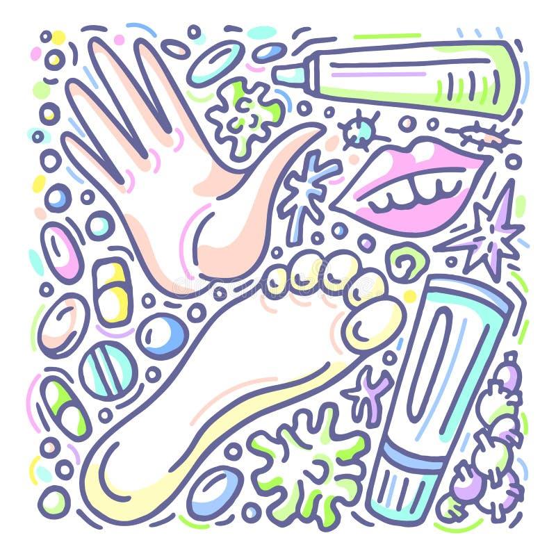 Projeto do vetor Eczema, psoríase, bactérias do tratamento E allergy ilustração stock